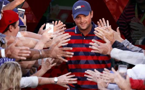 Patrick Reed surrounded by fans.